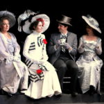 Laurie Strawn (Mrs. Higgins), Josselyn O'Neill (Eliza Doolittle), Nathaniel Rothrock (Freddy Eynsford-Hill) and Sarah Sloan (Mrs. Eynsford-Hill)